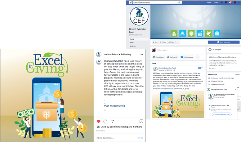 CEF instagram and facebook pages