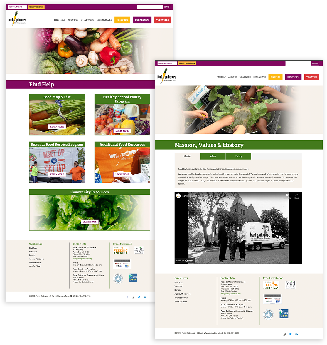 Food Gatherers website pages