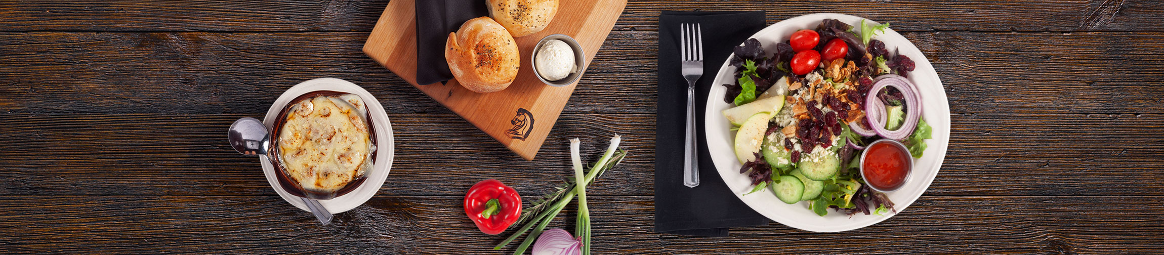 Knight's menu items on a wooden table