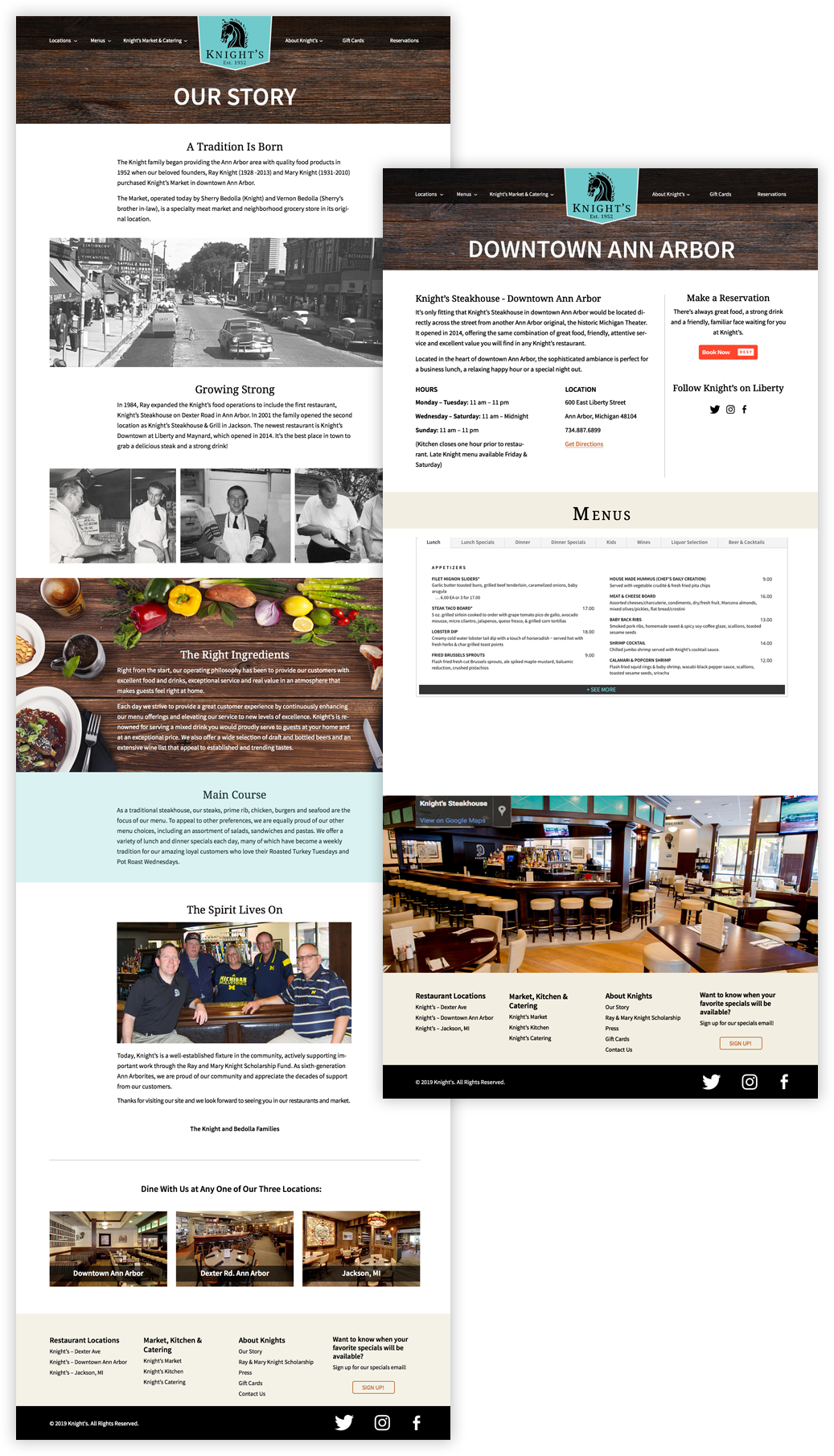 Knight's Restaurants Our Story Page