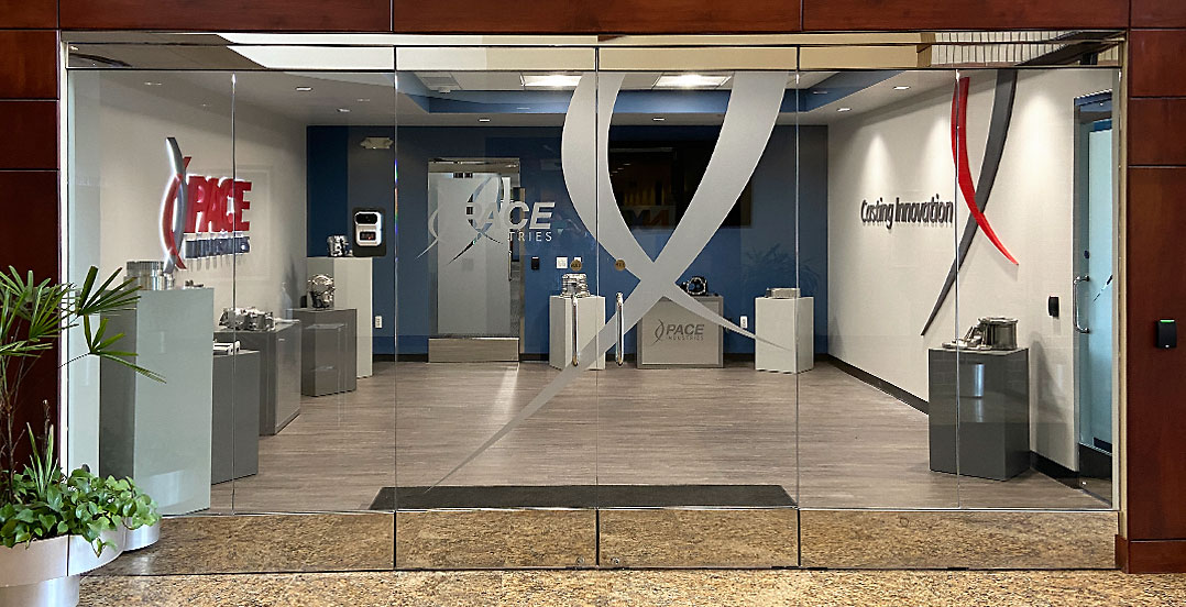 Pace Novi Headquarters Glass Wall with Logo